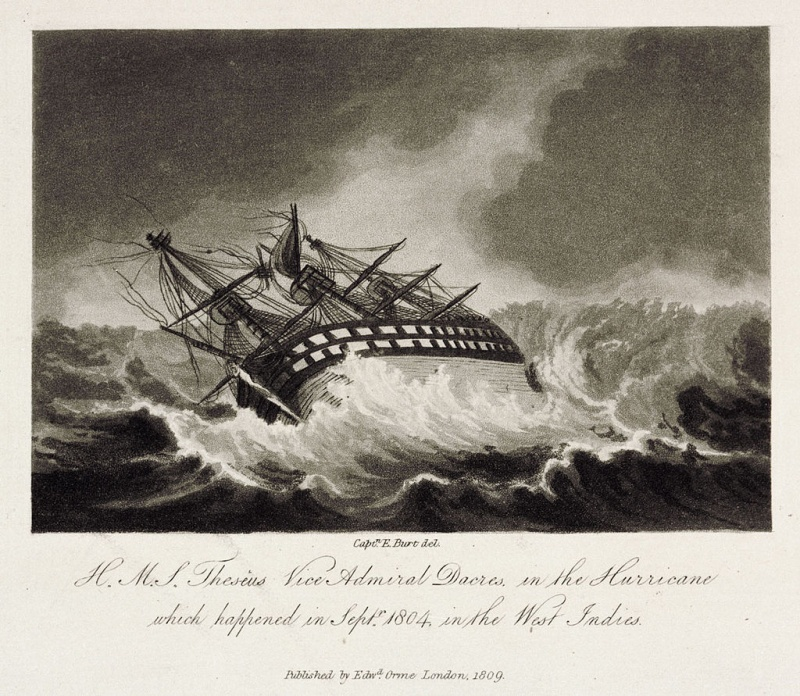 Name:  H.M.S._Theseus_Vice_Admiral_Dacres,_in_the_Hurricane_Plate_1.jpg