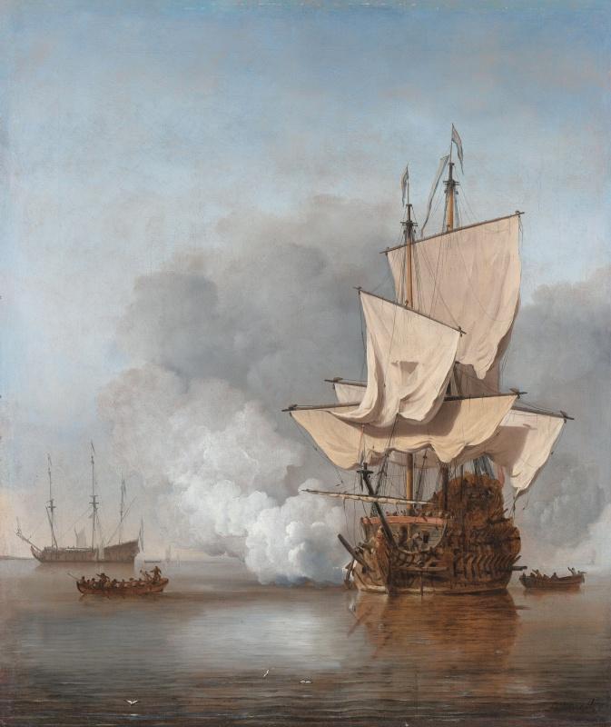Name:  Het_Kanonschot_-_Canon_fired_(Willem_van_de_Velde_II,_1707).jpg Views: 74 Size:  166.6 KB