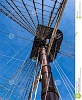 vintage sailing ship mast rigging historic viewed below against blue sky santissima trinidad ali