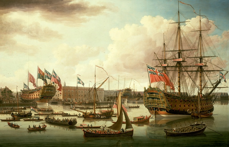 Name:  John_Cleveley_the_Elder,_The_Royal_George_at_Deptford_Showing_the_Launch_of_The_Cambridge_(1757).jpg