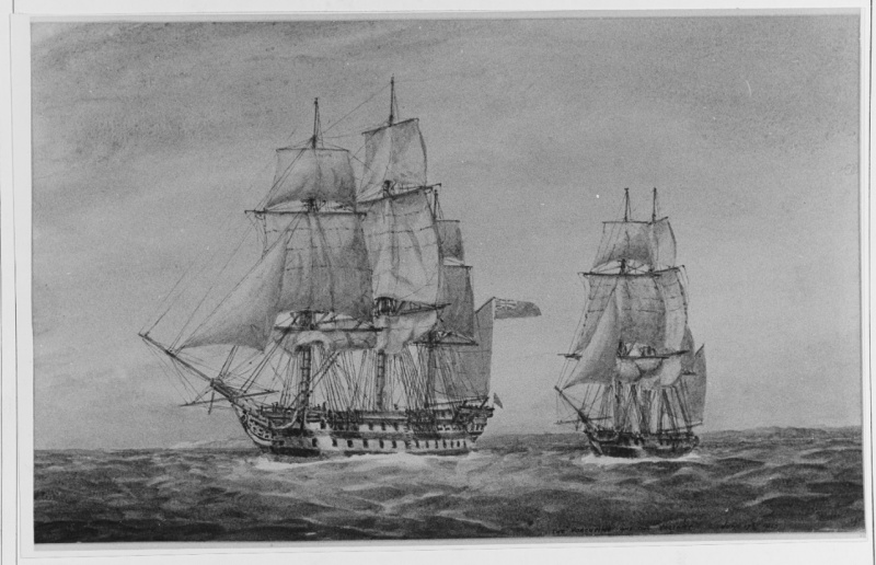 Name:  Valiant and the American ship Porcupine..jpg