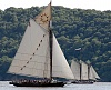 Sloop Clearwater  sailing with schooner Mystic Whaler on Hudson River