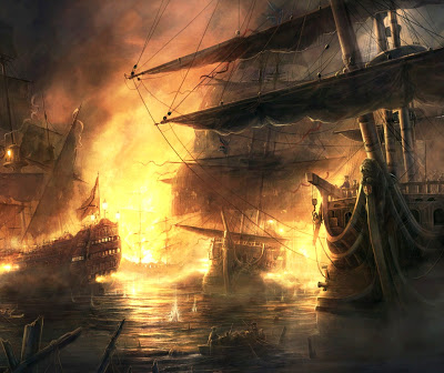 Name:  Fireships were an archaic, but effective, threat to the cross-Channel transportation of armies, .jpg