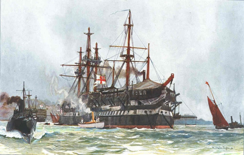 Name:  The Old Implacable _Duguay Trouin_ at Devenport_ 1901 by charles dixon.jpg Views: 313 Size:  169.2 KB
