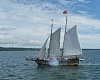 97813 Tall ships Lianas Ransom after firing cannon, seen from Peacemaker