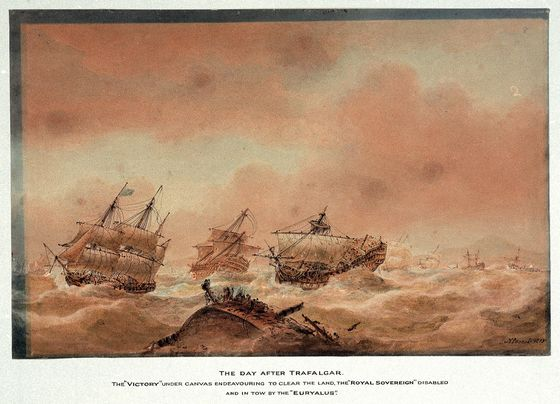 Name:  The_day_after_Trafalgar;_the_'Victory'_trying_to_clear_the_land_with_the_'Royal_Soveriegn'_in_to.jpg Views: 91 Size:  61.6 KB