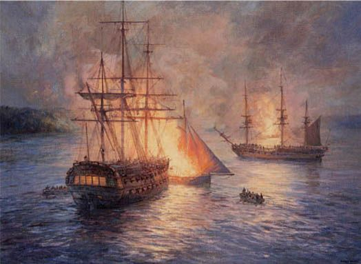 Name:  'Fireships on the Hudson River. Night attack on HM ships Phoenix and Rose,.jpg