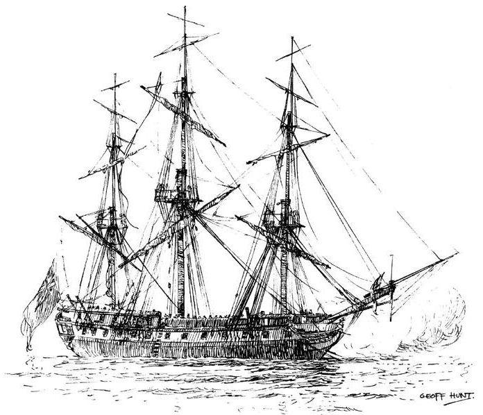 Name:  HMS Surprise [Geoff Hunt] yards cockbilled.jpg Views: 94 Size:  93.8 KB